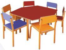 میز ذوزنقه ای مهد کودک | میز آموزشی